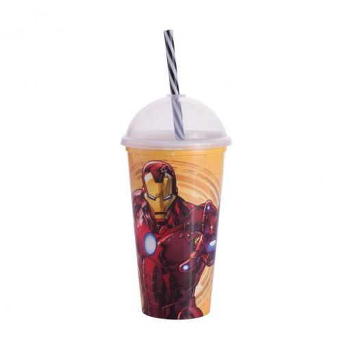 Copo Shake de Plástico 500 ml com Tampa e Canudo Avengers Homem de Ferro