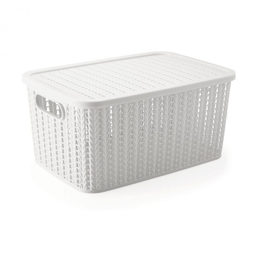 Caixa de Plástico Retangular Organizadora 14 L com Tampa e Pegador Trama