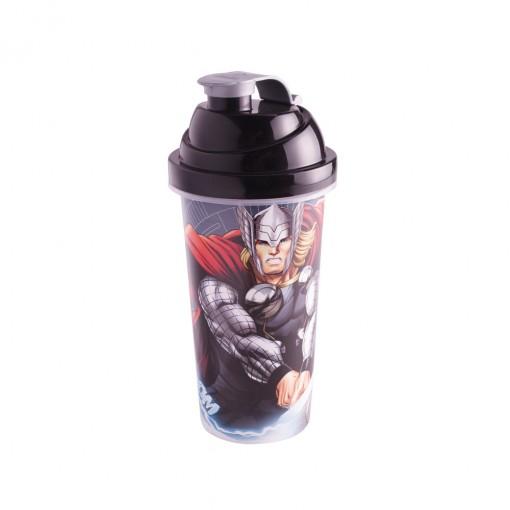 Shakeira de Plástico 580 ml com Tampa Rosca e Misturador Avengers Thor