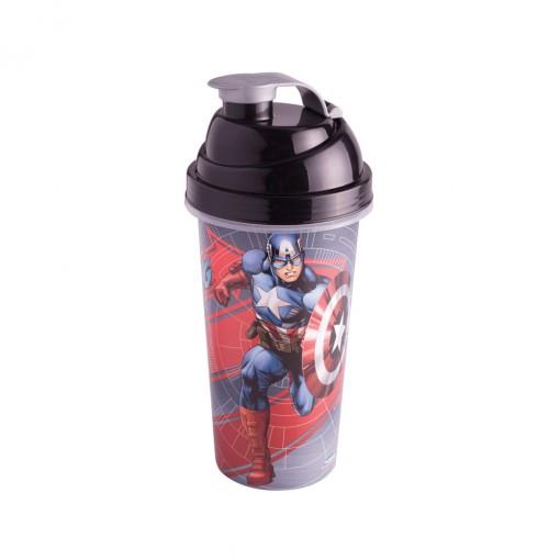 Shakeira de Plástico 580 ml com Tampa Rosca e Misturador Avengers Capitão América