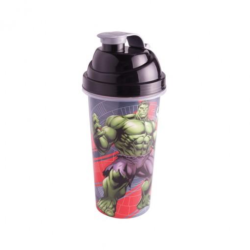 Shakeira de Plástico 580 ml com Tampa Rosca e Misturador Avengers Hulk