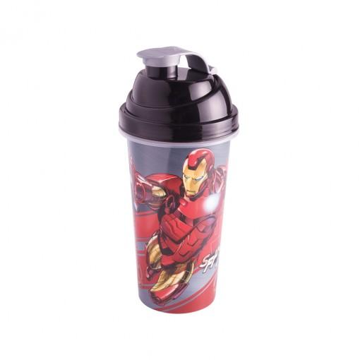 Shakeira de Plástico 580 ml com Tampa Rosca e Misturador Avengers Homem de Ferro