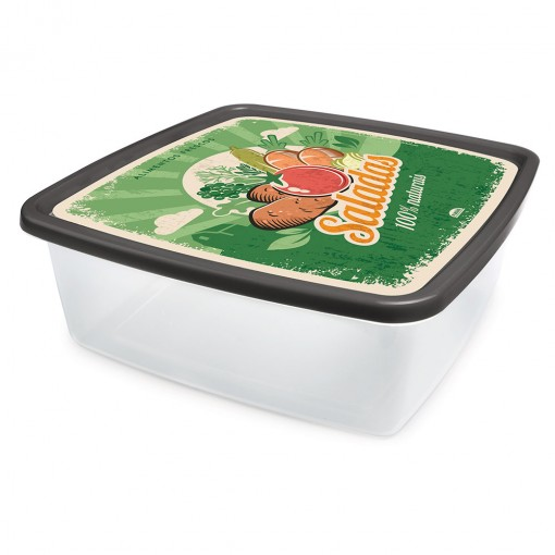 Pote de Plástico Quadrado 6,6 L Saladas Clic Retrô