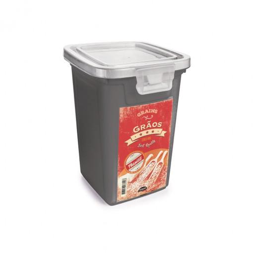 Pote de Plástico Retangular 980 ml com Tampa Fixa e Trava Grãos Duo Retrô