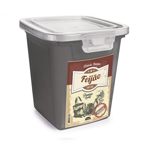 Pote de Plástico Retangular 3,2 L com Tampa Fixa e Trava Feijão Duo Retrô