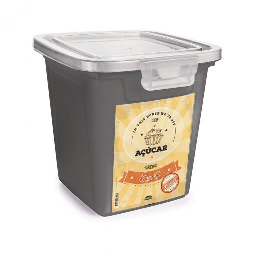Pote de Plástico Retangular 5,1 L com Tampa Fixa e Trava Açúcar Duo Retrô