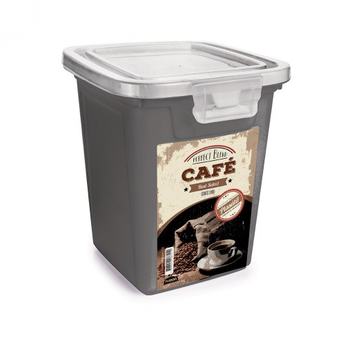 Pote de Plástico Retangular 1,8 L com Tampa Fixa e Trava Café Duo Retrô