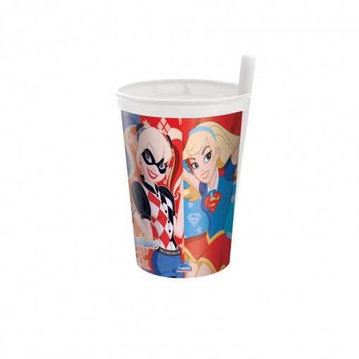 Copo de Plástico 330 ml com Canudo Fixo Super Hero Girls