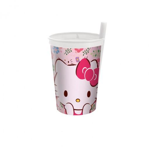 Copo com Canudo Fixo   Hello Kitty