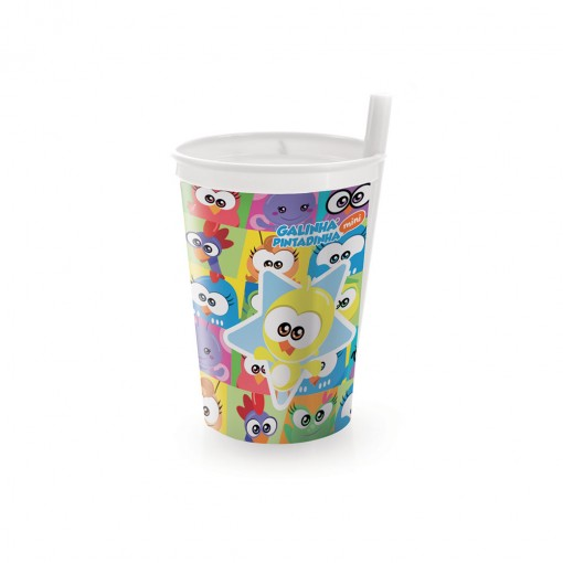 Copo de Plástico 330 ml com Canudo Fixo Galinha Pintadinha