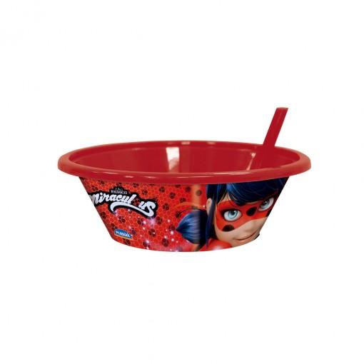 Bowl com Canudo Fixo | Miraculous - Ladybug