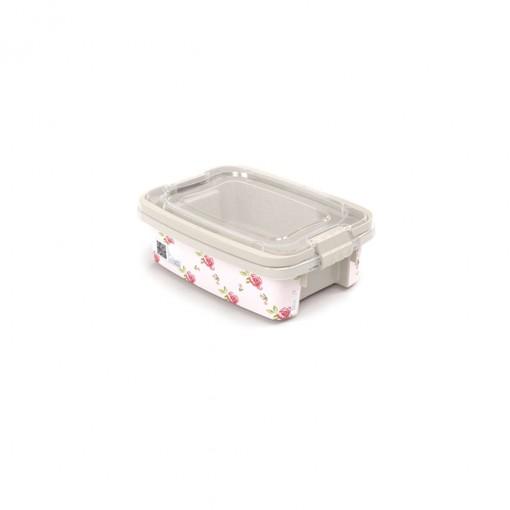 Caixa de Plástico Retangular Organizadora 410 ml com Tampa, Travas Laterais e Alça Gran Box Floral