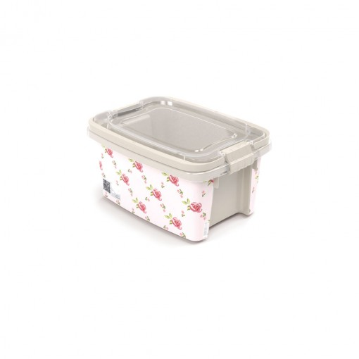 Caixa de Plástico Retangular Organizadora 690 ml com Tampa, Travas Laterais e Alça Gran Box Floral