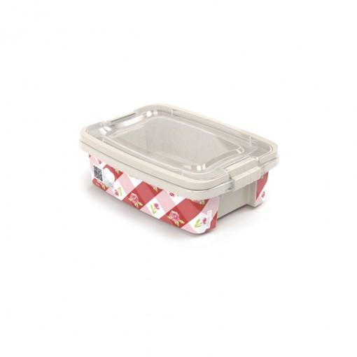 Caixa de Plástico Retangular Organizadora 1,5 L com Tampa, Travas Laterais e Alça Gran Box Floral