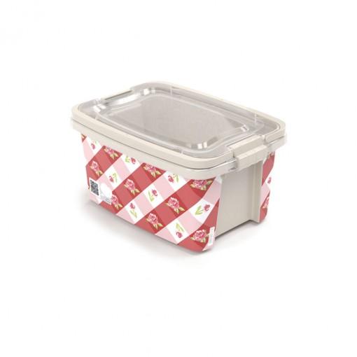 Caixa de Plástico Retangular Organizadora 2,6 L com Tampa, Travas Laterais e Alça Gran Box Floral