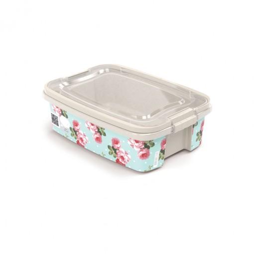 Caixa de Plástico Retangular Organizadora 3,12 L com Tampa, Travas Laterais e Alça Gran Box Floral