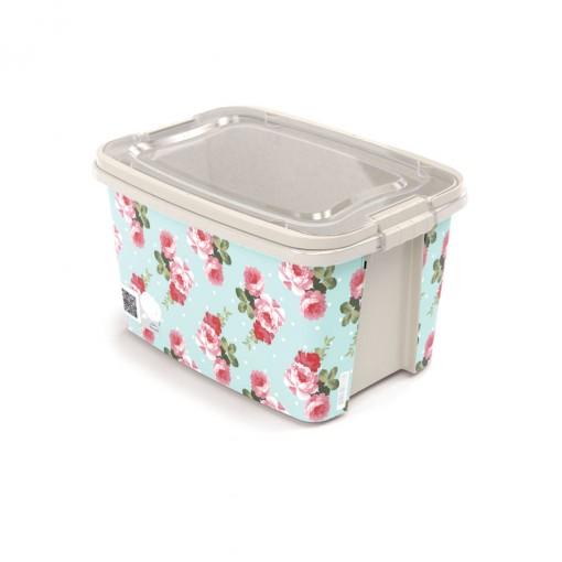 Caixa de Plástico Retangular Organizadora 6,2 L com Tampa, Travas Laterais e Alça Gran Box Floral