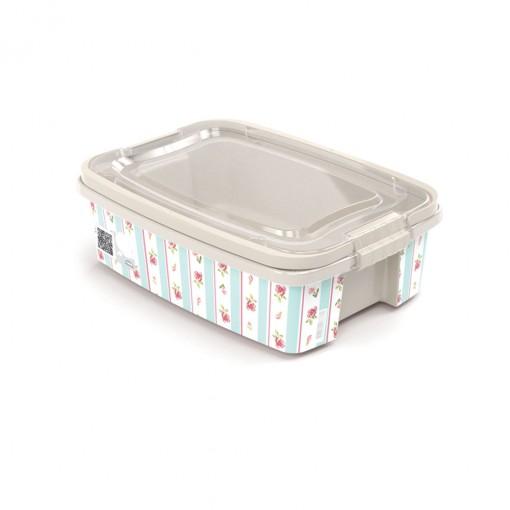 Caixa de Plástico Retangular Organizadora 5,48 L com Tampa, Travas Laterais e Alça Gran Box Floral