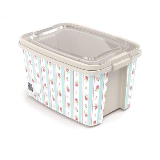 Caixa de Plástico Retangular Organizadora 10,7 L com Tampa, Travas Laterais e Alça Gran Box Floral