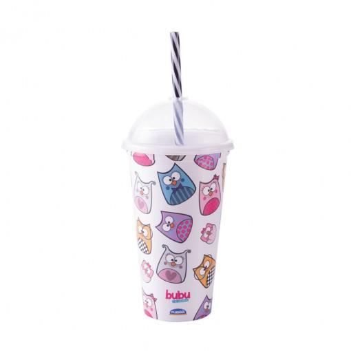Copo Shake de Plástico 500 ml com Tampa e Canudo Bubu e as Corujinhas