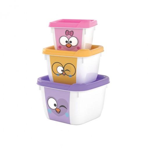 Conjunto de Potes de Plástico Quadrados Conect Bubu e as Corujinhas 3 unidades
