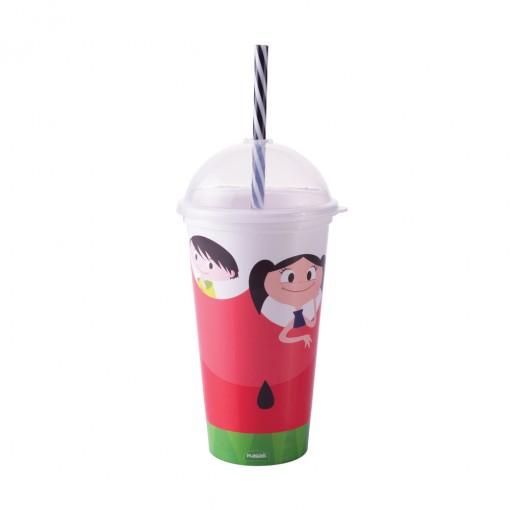 Copo Shake de Plástico 500 ml com Tampa e Canudo Show da Luna