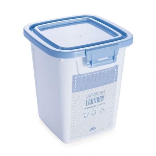 Porta Sabão em Pó de Plástico 1 Kg com Tampa Fixa e Trava Lavanderia
