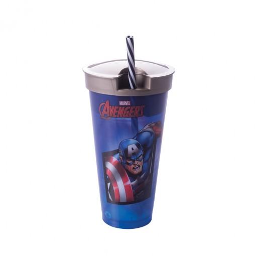 Copo com Canudo 2 em 1 | Avengers - Capitão América