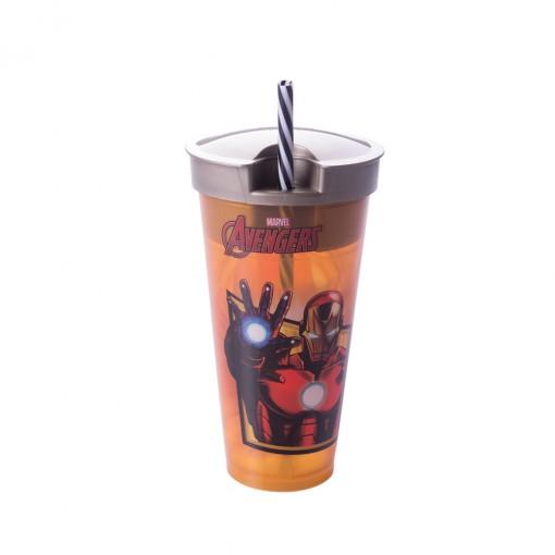 Copo de Plástico 540 ml com Compartimento e Canudo Avengers Homem de Ferro