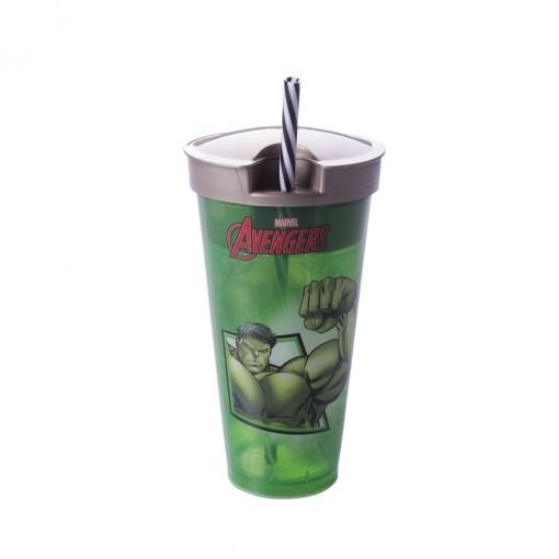 Copo de Plástico 540 ml com Compartimento e Canudo Avengers Hulk