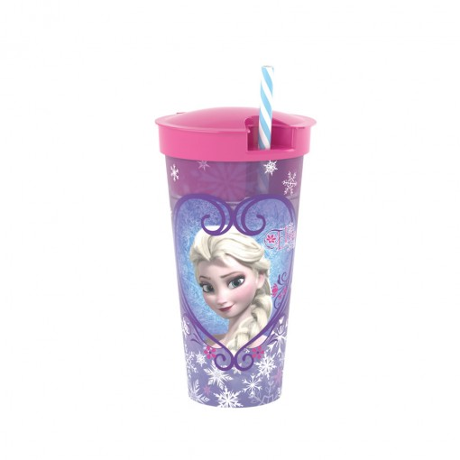 Copo de Plástico 540 ml com Compartimento e Canudo Frozen