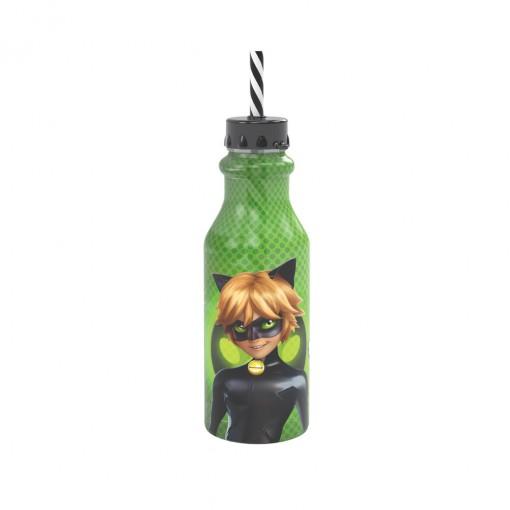 Garrafa de Plástico 500 ml com Tampa Rosca e Canudo Retrô Miraculous Cat Noir