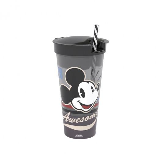 Copo de Plástico 540 ml com Compartimento e Canudo Mickey Vintage