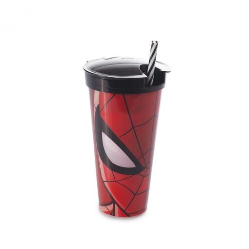 Copo de Plástico 540 ml com Compartimento e Canudo Homem Aranha
