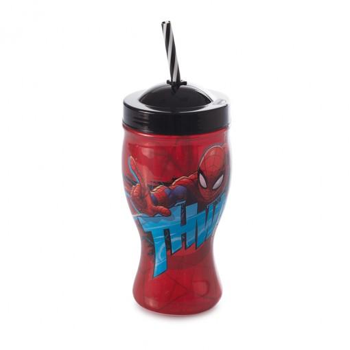 Copo de Plástico 660 ml com Formato de Taça e Canudo Homem Aranha