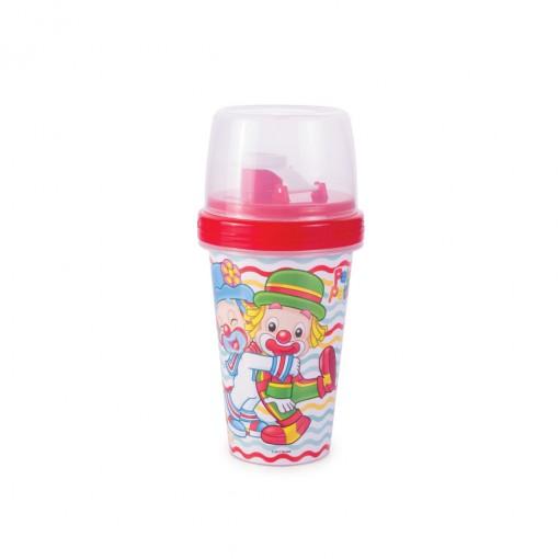 Mini Shakeira de Plástico 320 ml com Misturador, Fechamento Rosca e Sobretampa Articulável Patati Patatá
