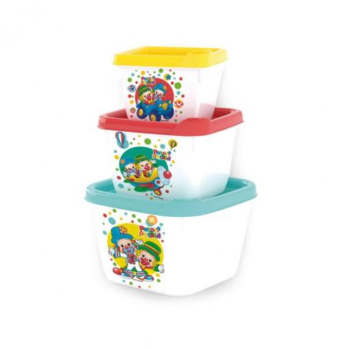 Conjunto de Potes de Plástico Quadrados Conect Patati Patatá 3 unidades