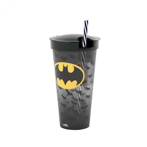 Copo de Plástico 540 ml com Compartimento e Canudo Batman