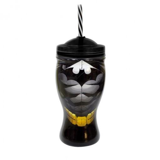 Copo de Plástico 660 ml com Formato de Taça e Canudo Batman