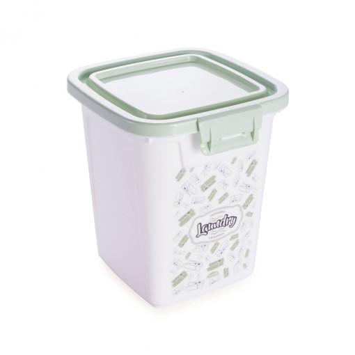 Porta Sabão em Pó de Plástico 500 g com Tampa Fixa e Trava Lavanderia