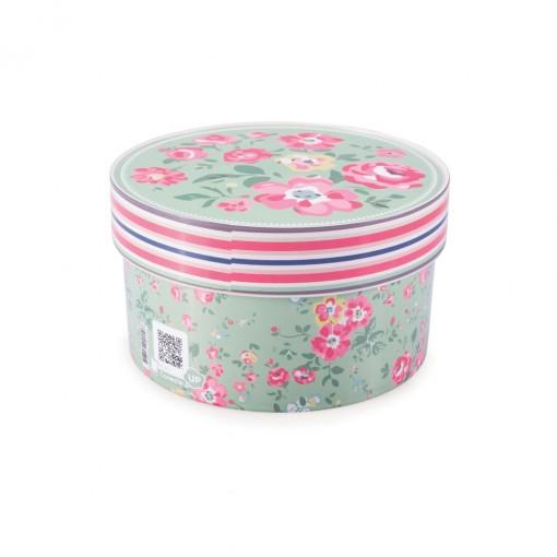 Caixa de Plástico Redonda Organizadora 1,2 L com Tampa Encaixável Floral