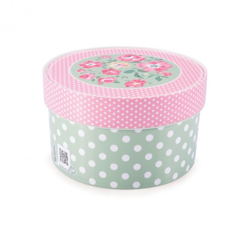 Caixa de Plástico Redonda Organizadora 1,5 L com Tampa Encaixável Floral
