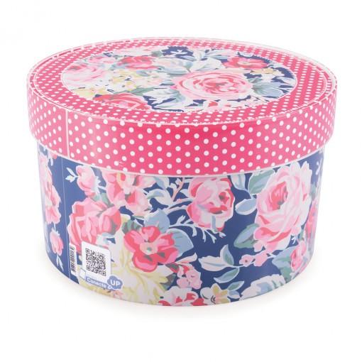 Caixa de Plástico Redonda Organizadora 2,7 L com Tampa Encaixável Floral