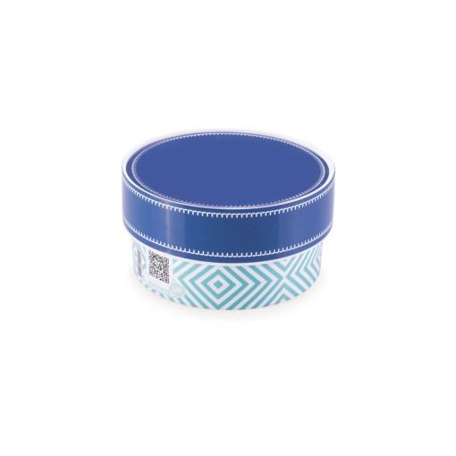 Caixa de Plástico Redonda Organizadora 420 ml com Tampa Encaixável Geométrica