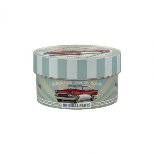 Caixa de Plástico Redonda Organizadora 900 ml com Tampa Encaixável Garagem Retrô