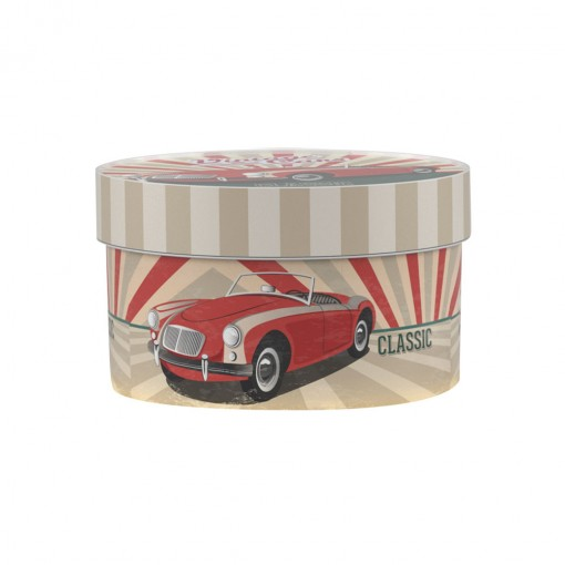 Caixa de Plástico Redonda Organizadora 1,5 L com Tampa Encaixável Garagem Retrô