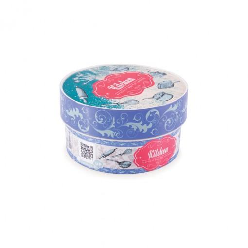 Caixa de Plástico Redonda Organizadora 630 ml com Tampa Encaixável Cozinha Retrô