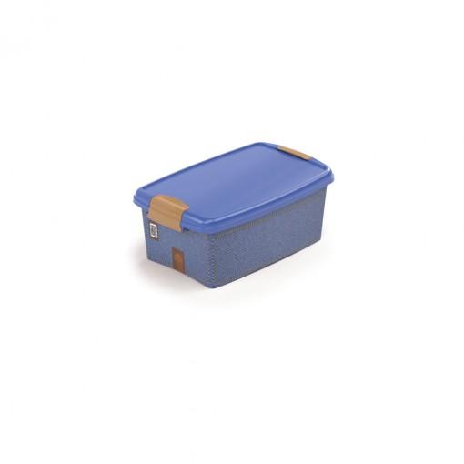 Caixa de Plástico Retangular Organizadora 4,2 L com Tampa e Travas Laterais Jeans