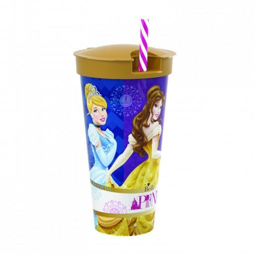 Copo de Plástico 540 ml com Compartimento e Canudo Princesas Colecionáveis