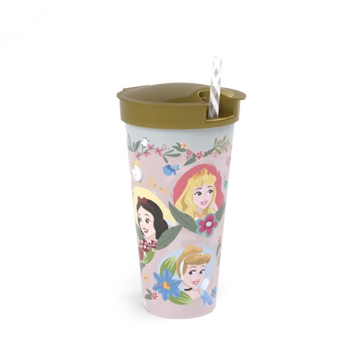 Copo de Plástico 540 ml com Compartimento e Canudo Princesas